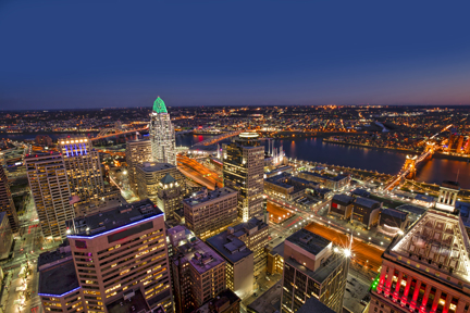 Looking south east at the beautiful skyline of downtown Cincinnati